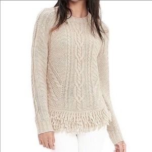 EUC💯Italian Yarn Cable Knit Fringe Sweater